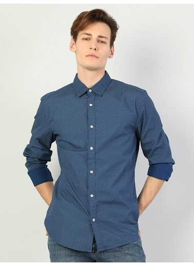 Colin's Slim Fit Shirt Neck Erkek Lacivert Uzun Kol Gömlek Lacivert